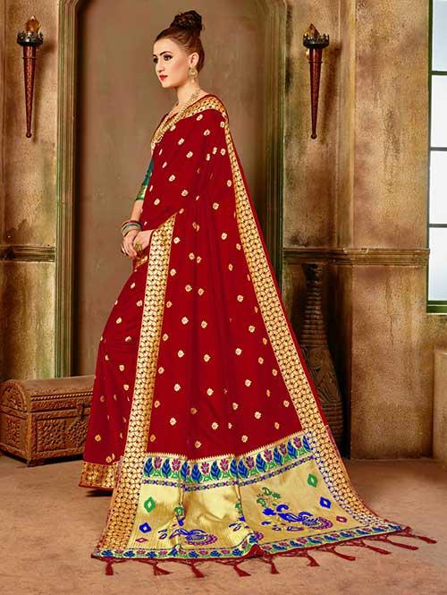 70ff791bb6 Red Banarasi silk woven saree - Banarasi silk saree - dvanza.com