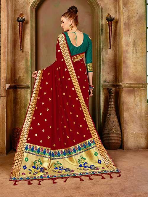 Red Banarasi silk woven saree