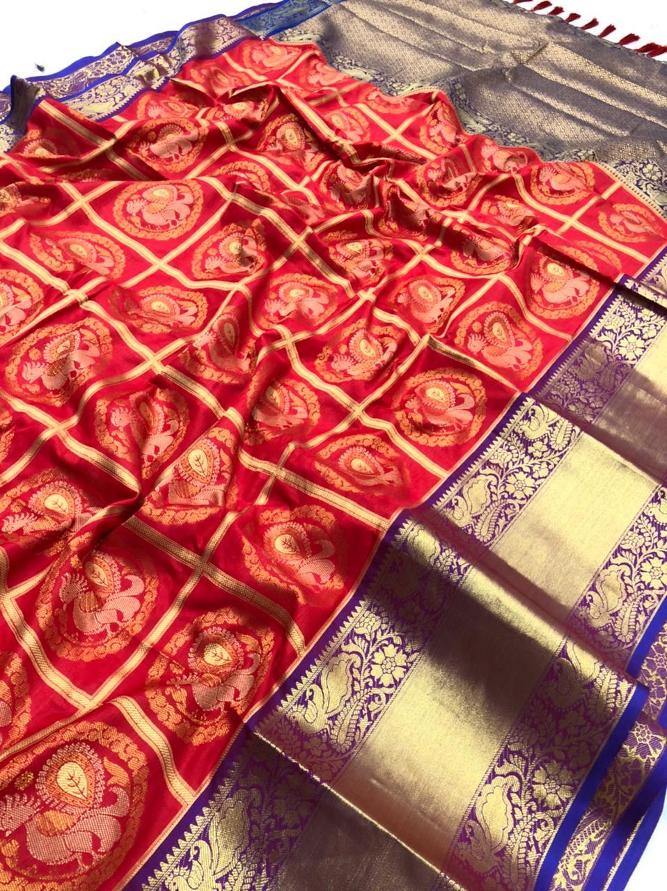 Red Kanchipuram Silk Sarees online shopping dvz0001964