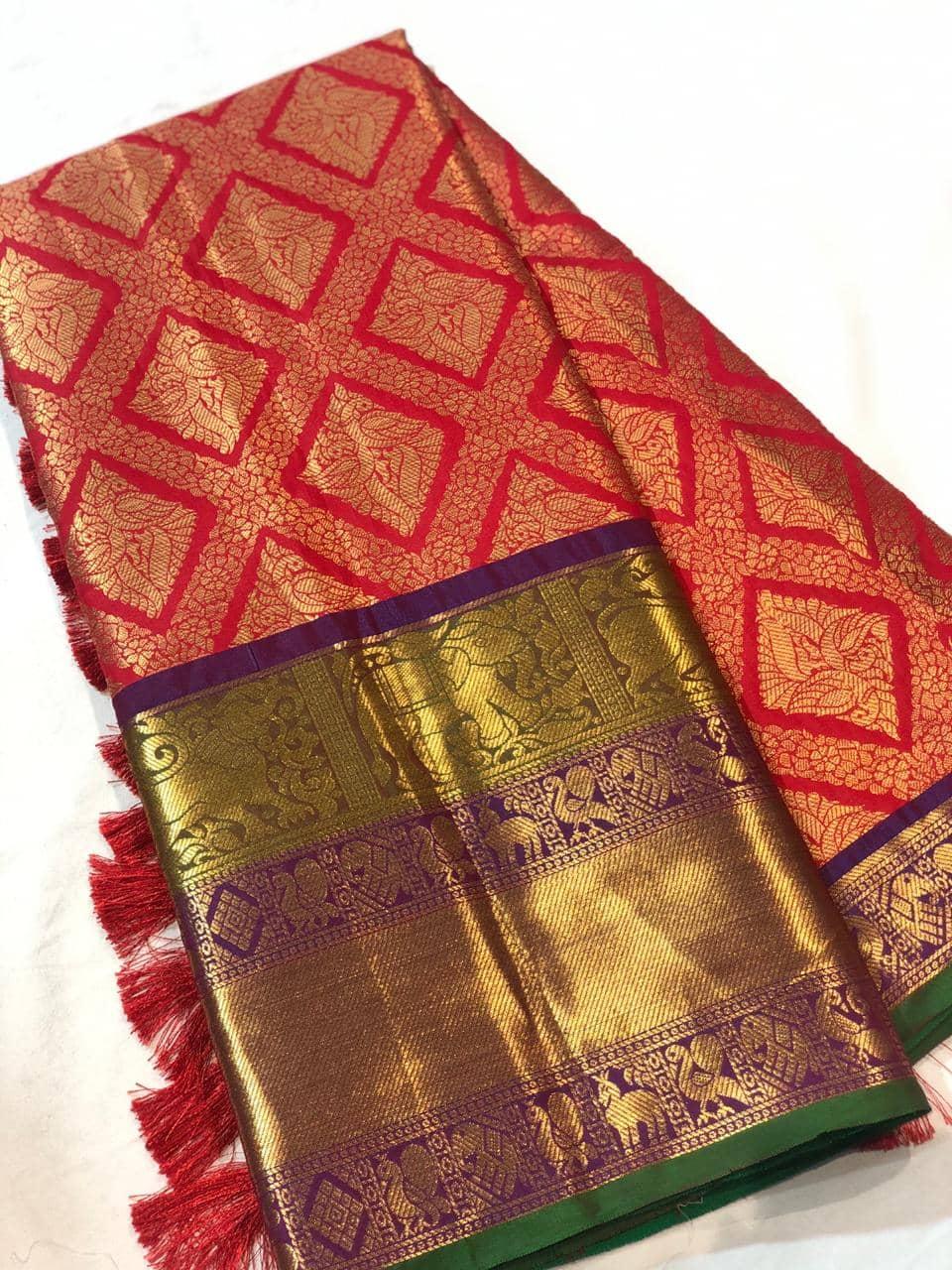 Red Kanchipuram Silk saree dvz0001622