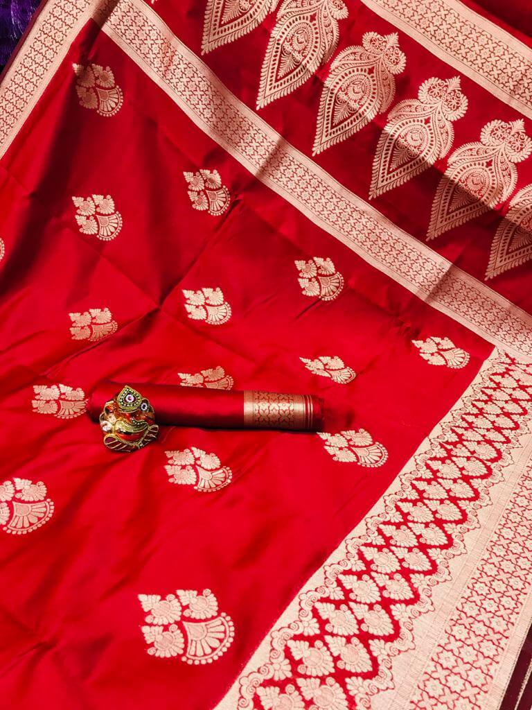 Red Soft Banarasi Cotton Silk Saree dvz0002434