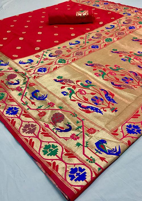 Red Soft Paithini Silk saree blouse design dvz0001190