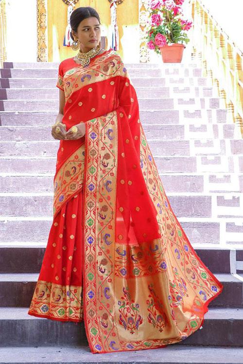 Red Soft Paithini Silk saree - paithani silk saree blouse design dvz0001190