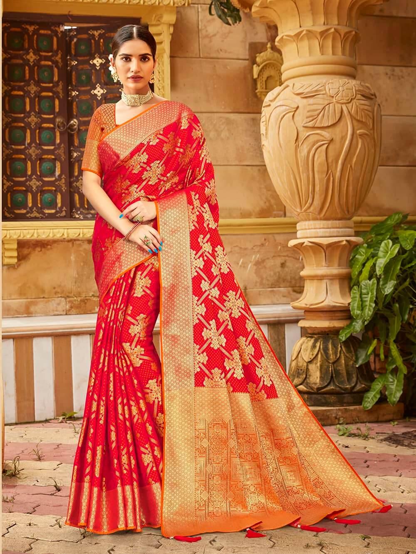 Red Soft silk Weaving Pallu work saree dvz0002675