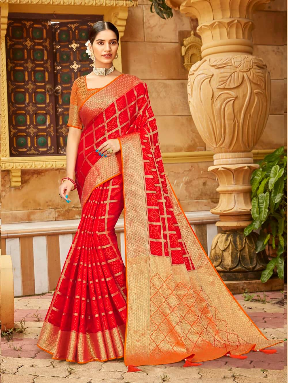 Red Soft silk Weaving Pallu work saree dvz0002676
