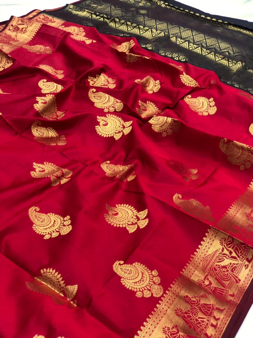 Red banarasi silk with beautiful zari work saree dvz0001748