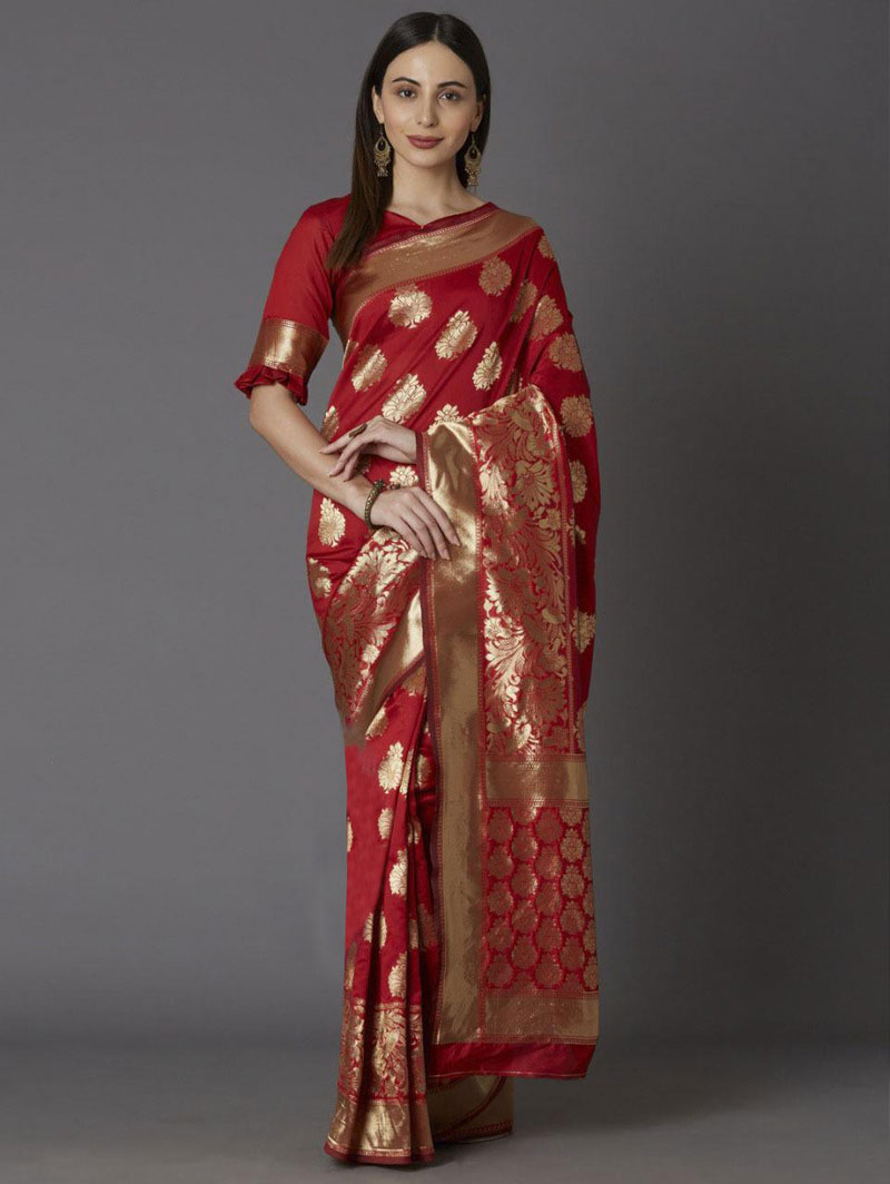 Red coloured soft silk sarees online shopping dvz0001339