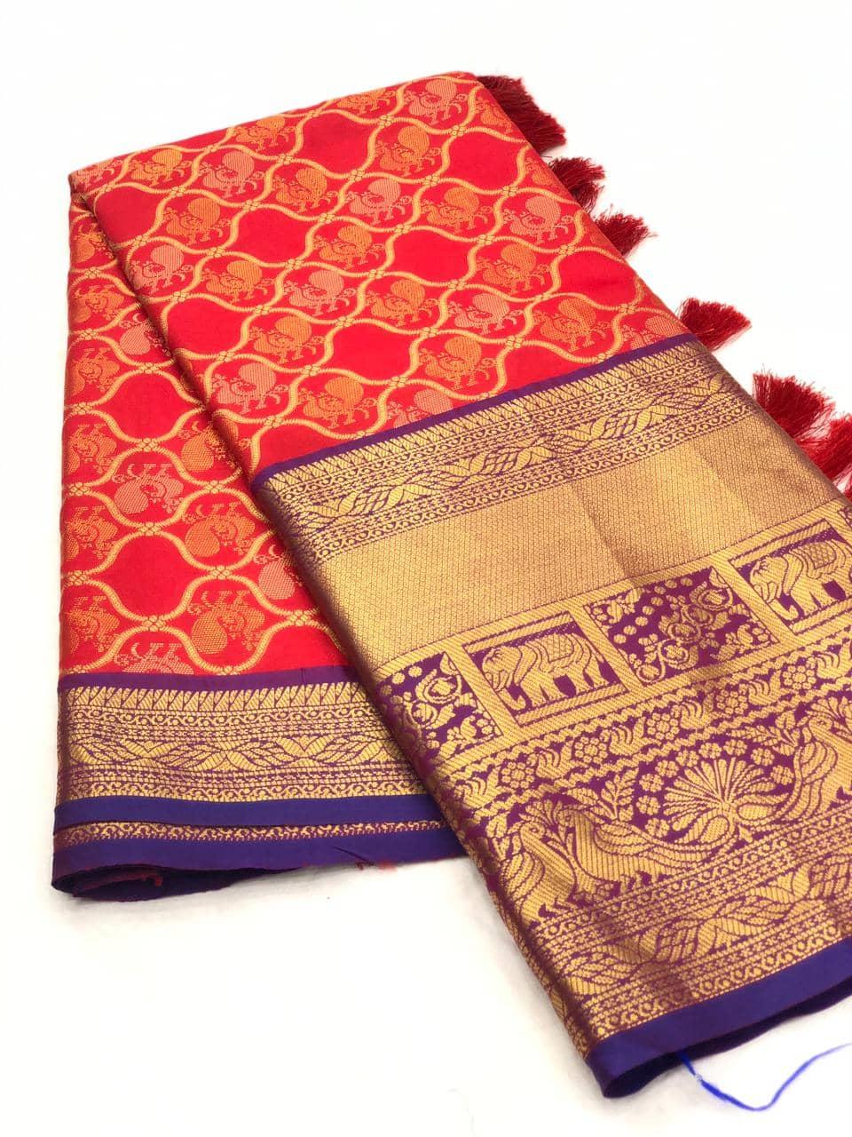 Red kanjeevaram silk sarees online shopping dvz0001998