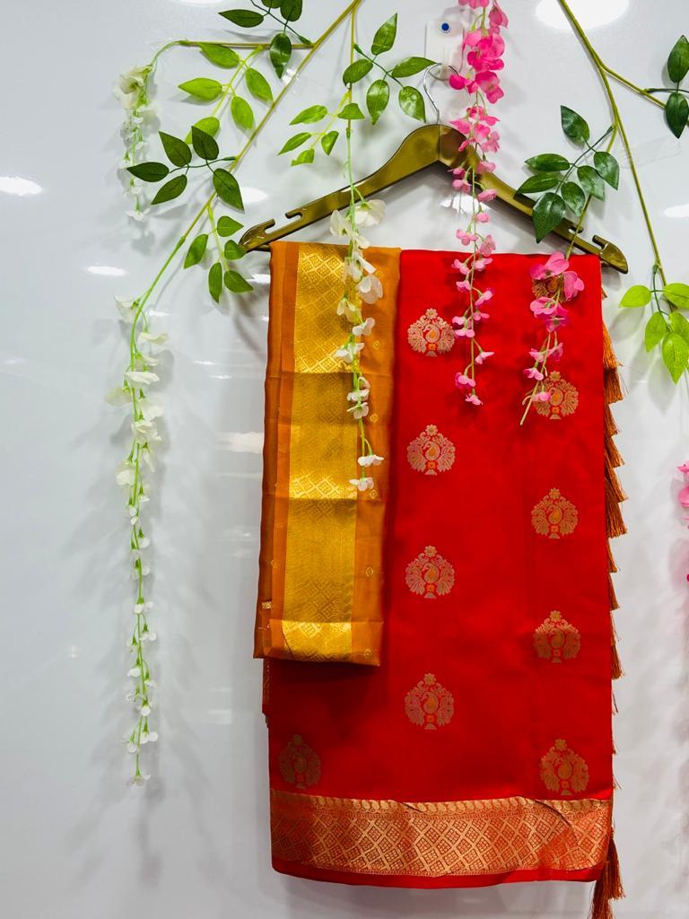 Red silk cotton sarees online shopping dvz0002081