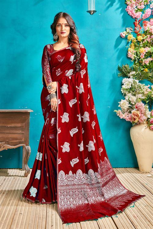 Red silk woven saree - silk sarees online - dvanza.com