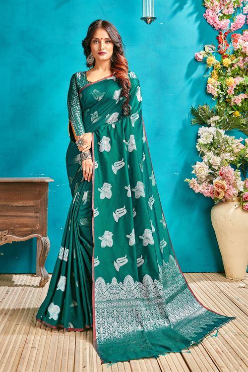 Sea Green silk woven saree - silk sarees online - dvanza.com