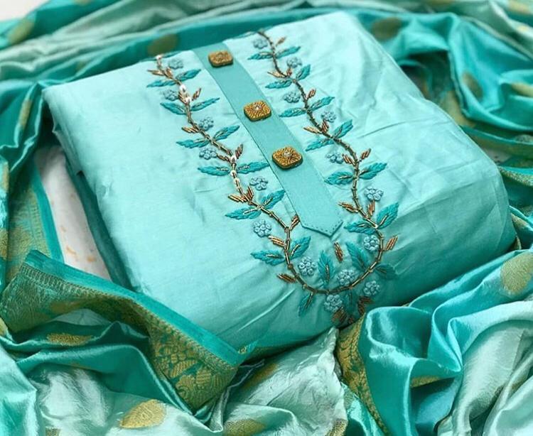Semi Modal Hand work salwar suit with Jacquard Dupatta (Sky Blue, unstitched) dvz0001356 by dvanza
