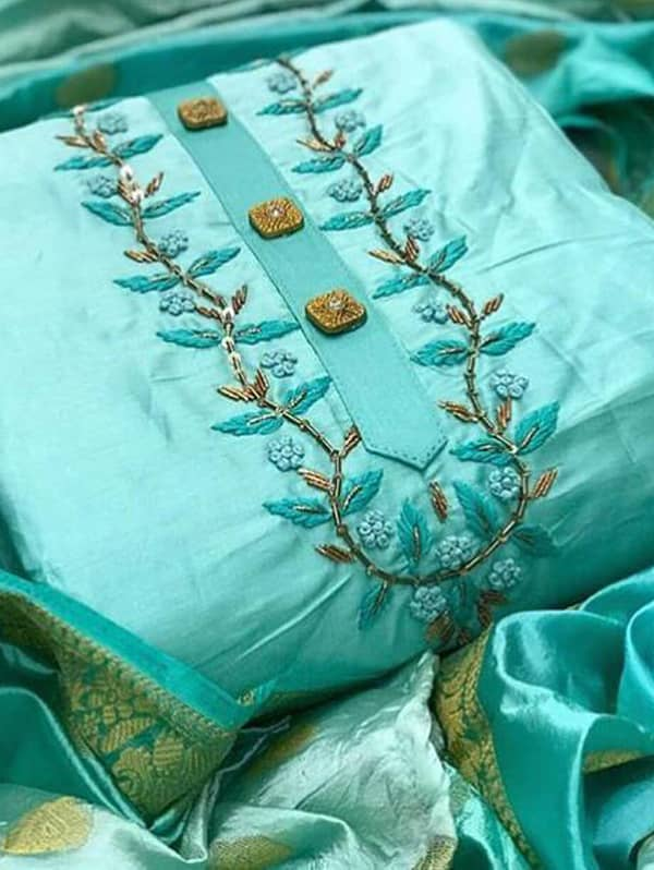 Semi Modal Hand work salwar suit with Jacquard Dupatta (Sky Blue, unstitched) dvz0001356