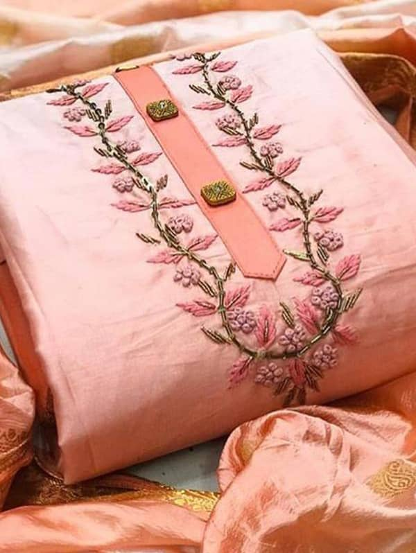 Semi Modal Hand work salwar suit with Jacquard Dupatta (peach, unstitched) dvz0001358