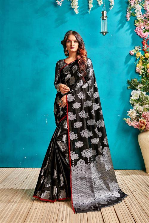 Black silk woven saree - silk sarees online - dvanza.com