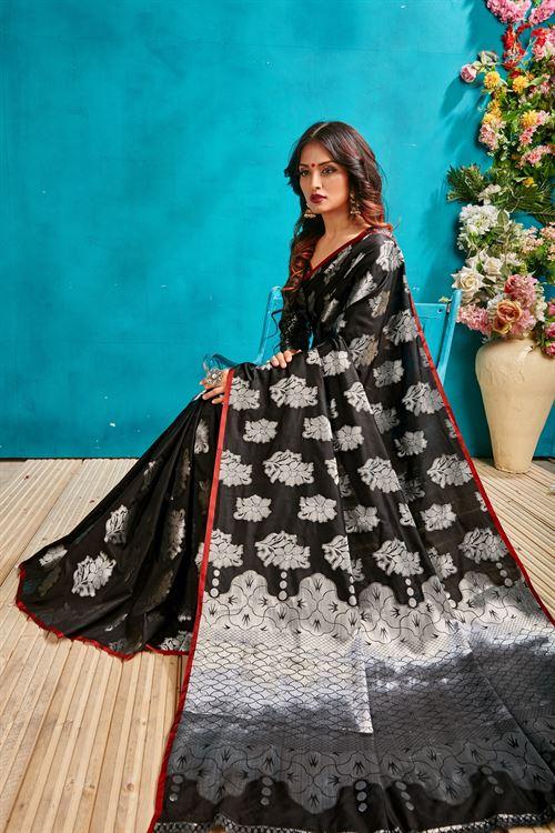 Black silk woven saree - silk sarees online - shop now | Dvanza.com