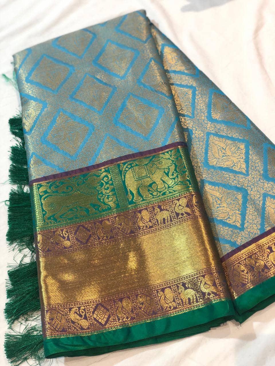 Sky Blue Kanchipuram Silk saree dvz0001625