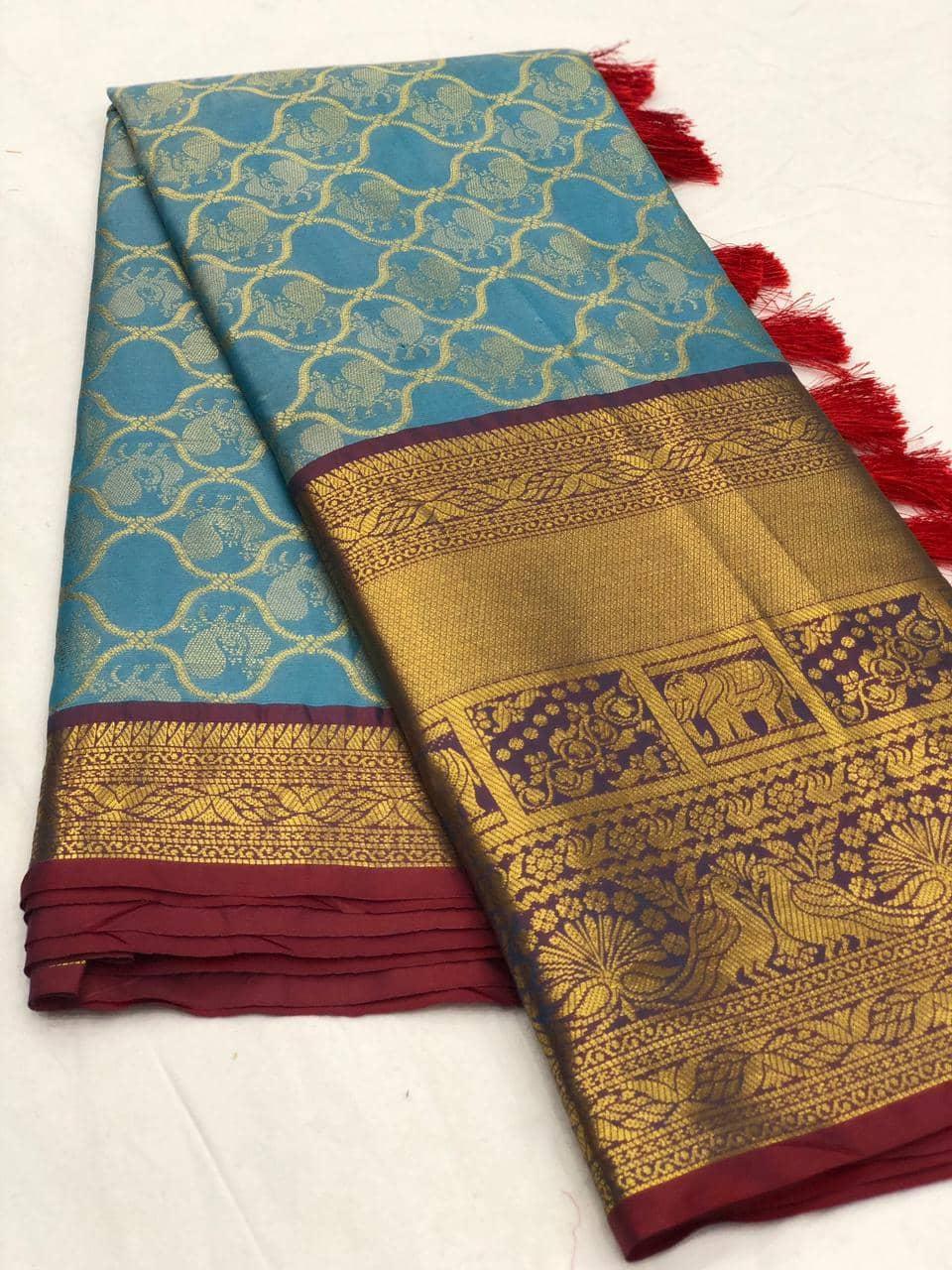Sky Blue kanjeevaram silk sarees online shopping dvz0001989