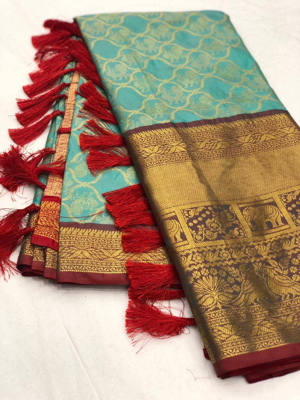 Sky Blue kanjeevaram silk sarees online shopping dvz0001990