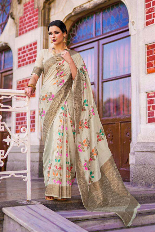 Soft Krystal silk saree in Off white Color dvz0001065 - RajTex - Kaalgi silk