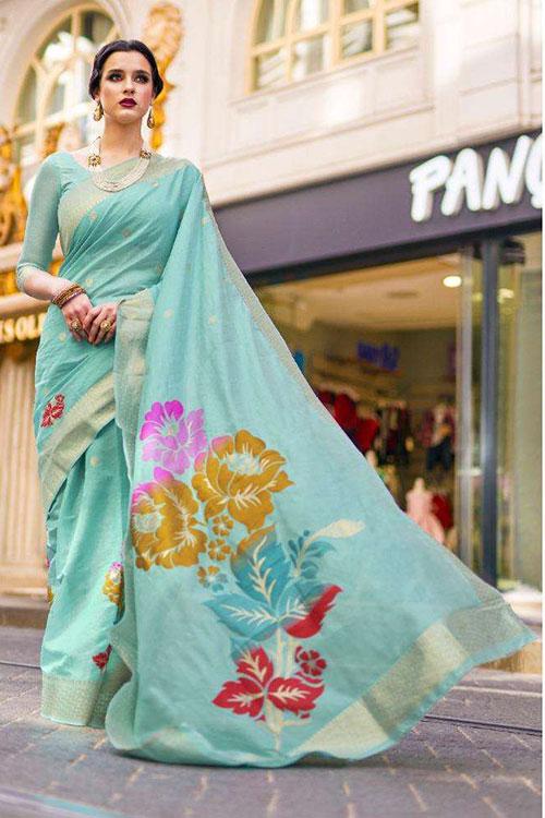 Soft Krystal silk saree in Sky Blue Color dvz0001068 - RajTex - Kaalgi silk