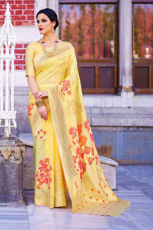 Soft Krystal silk saree in Yellow Color dvz0001069 - RajTex - Kaalgi silk