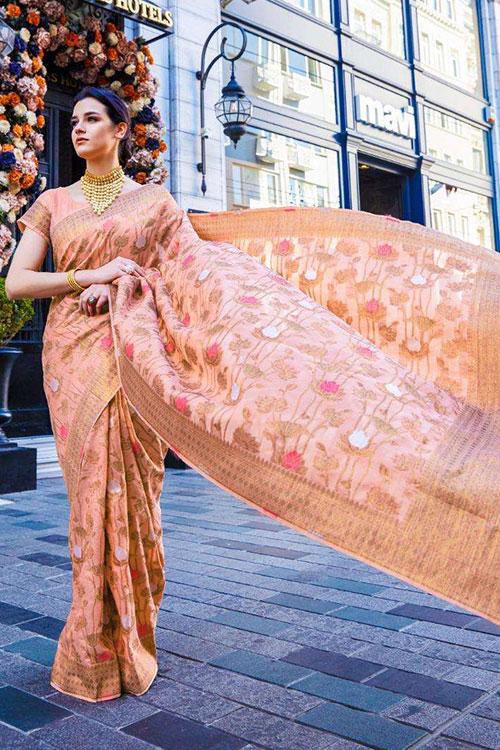 Soft Krystal silk saree in Peach Color dvz0001066 - RajTex - Kaalgi silk