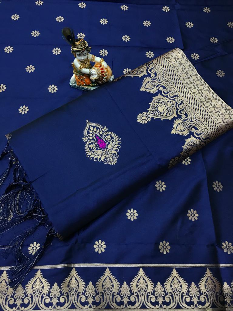 Soft Lichi silk woven saree in Blue dvz0002235