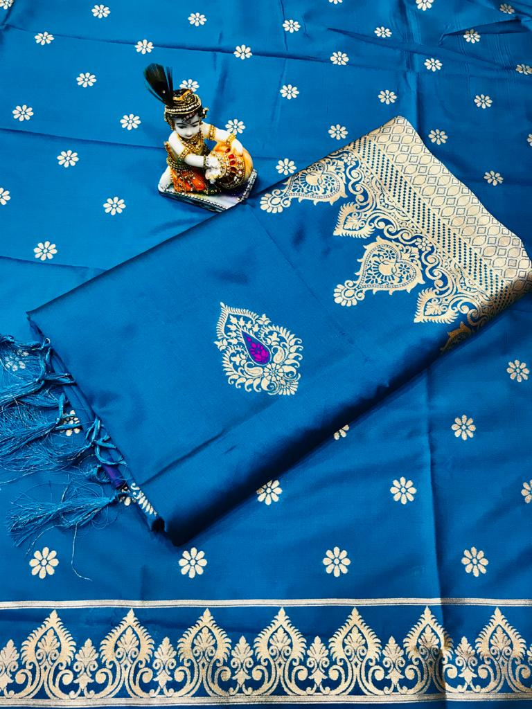 Soft Lichi silk woven saree in Sky Blue dvz0002236