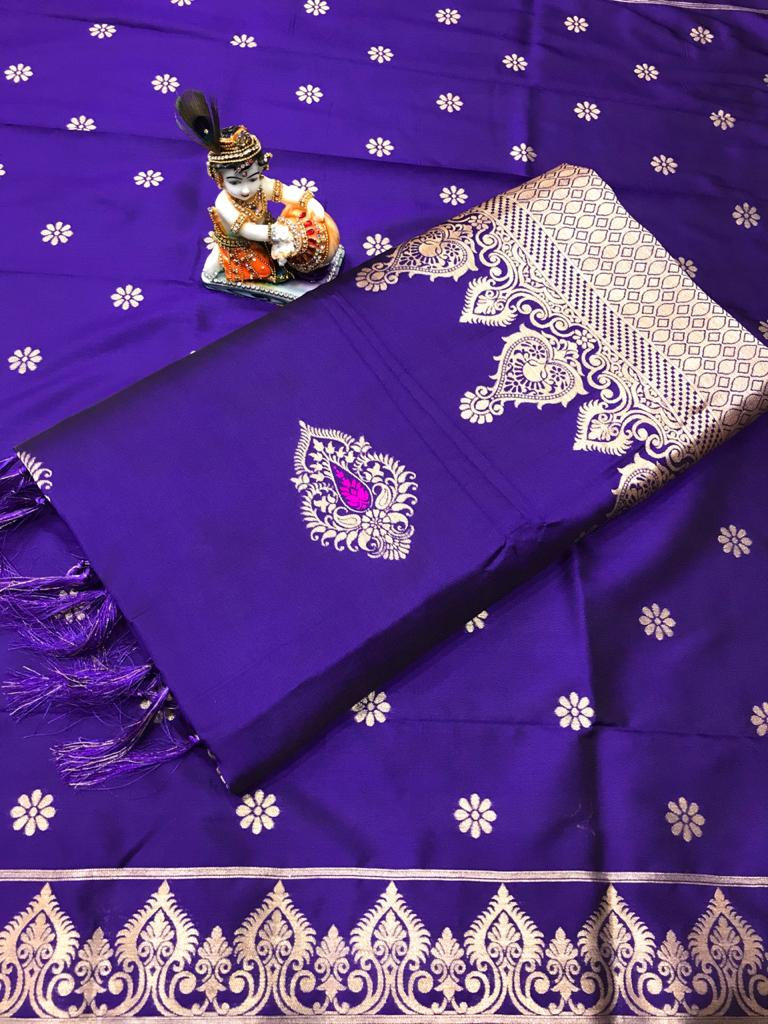 Soft Lichi silk woven saree in Violet dvz0002243