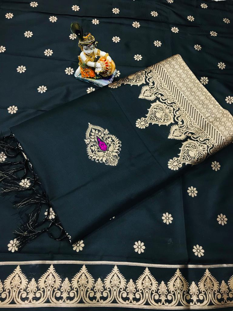 Soft Lichi silk woven saree in black dvz0002237