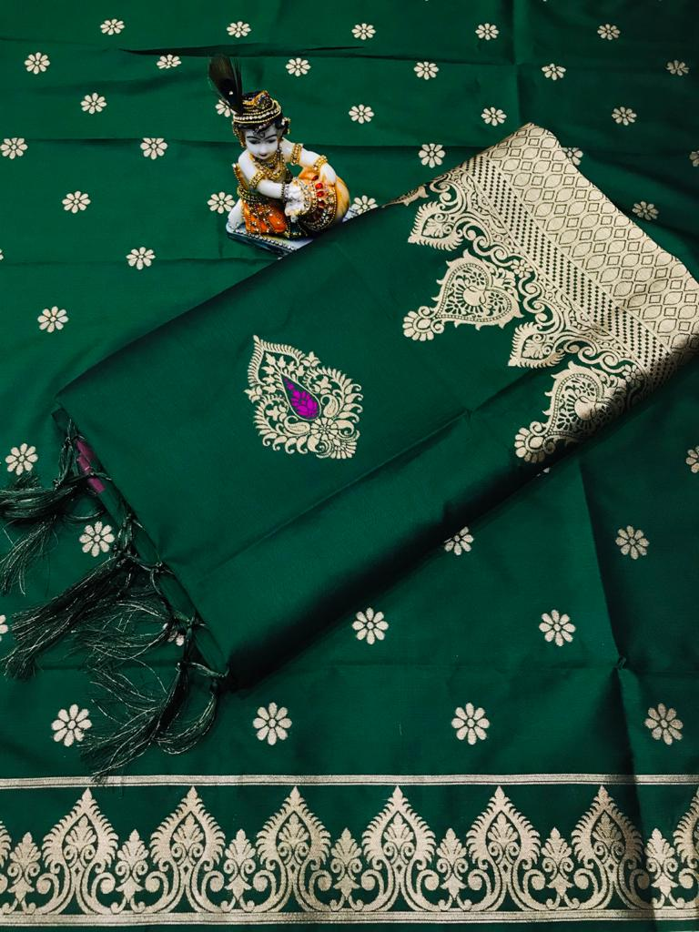 Soft Lichi silk woven saree in green dvz0002238