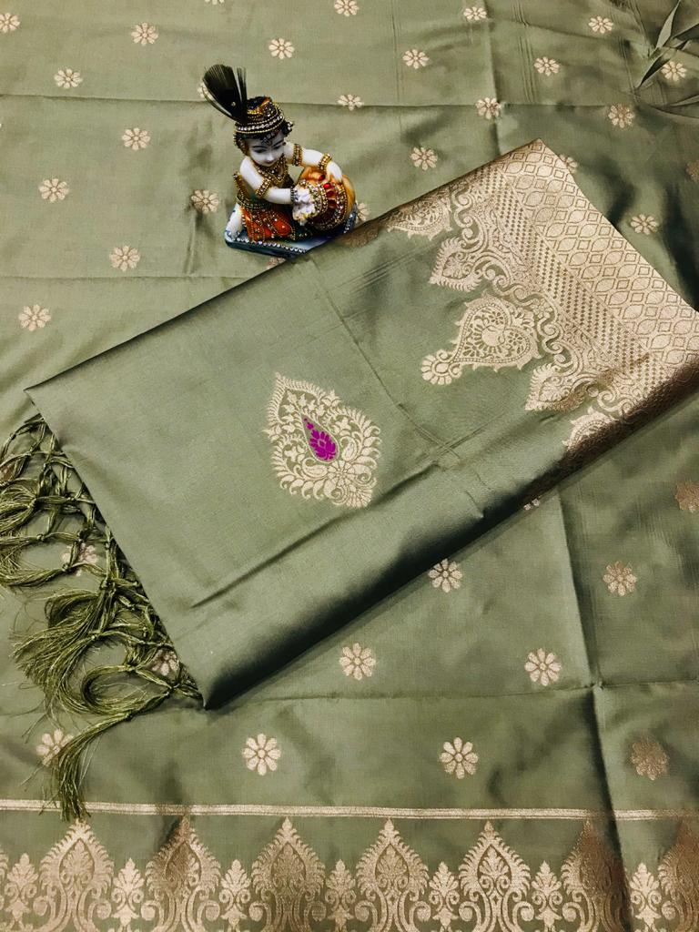 Soft Lichi silk woven saree in light Green dvz0002239