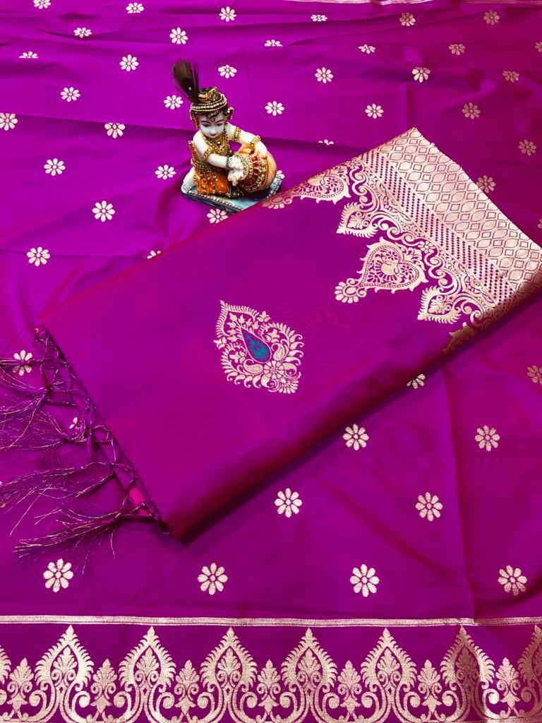 Soft Lichi silk woven saree in pink dvz0002244