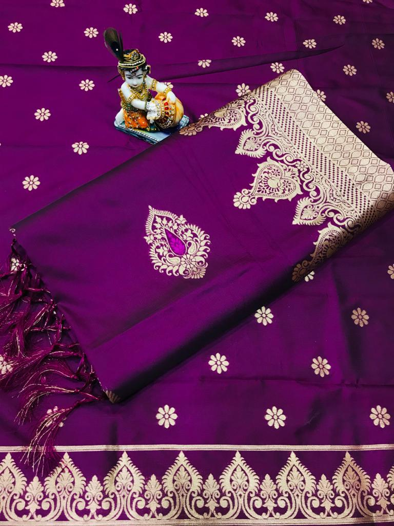 Soft Lichi silk woven saree in purple dvz0002242