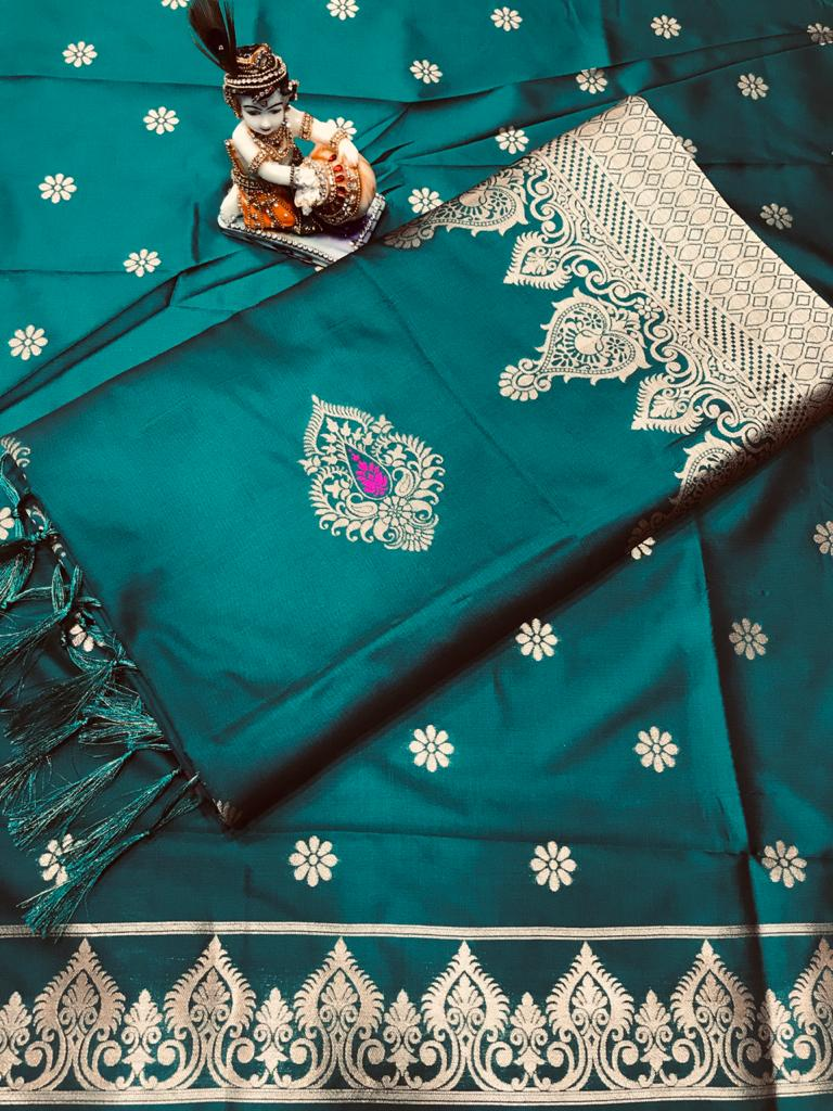 Soft Lichi silk woven saree in sea green dvz0002241