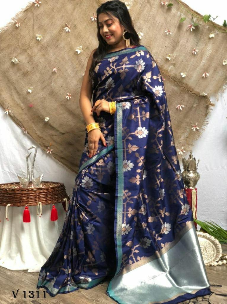 Soft Silk Designer Party Wear Saree in Blue dvz0002540