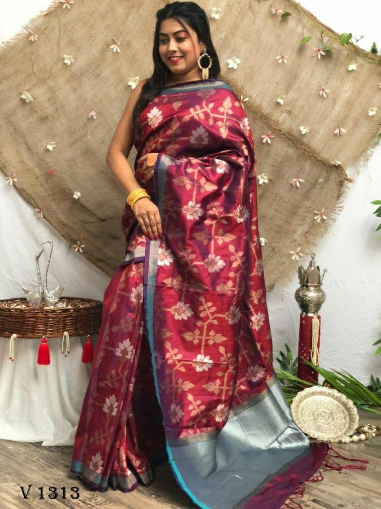 Soft Silk Designer Party Wear Saree in Maroon dvz0002543