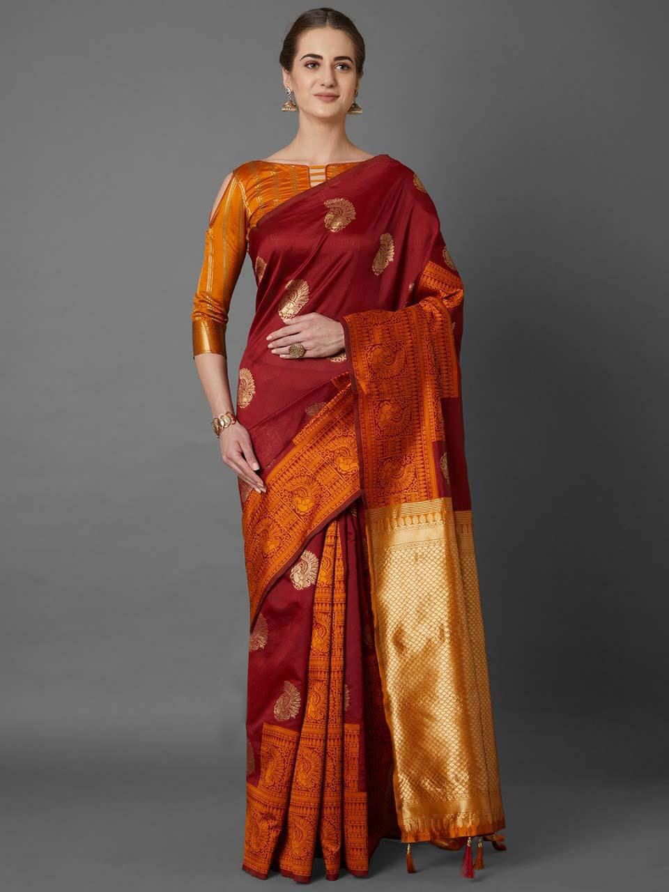 Soft Silk With Solid Zari Work Self Design Jacquard Work Saree (maroon)dvz0001329