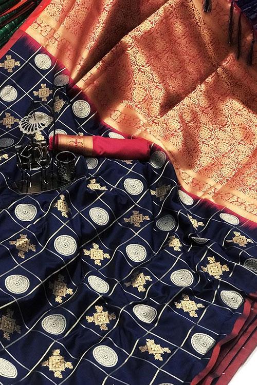 Soft Silk saree with Gold Zari weaving work (Blue ) dvz0001198