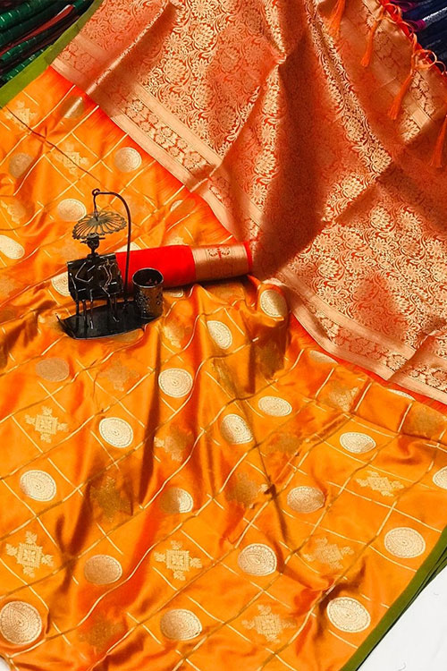Soft Silk saree with Gold Zari weaving work (Yellow ) dvz0001203