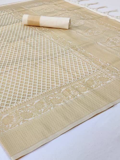 Soft Weaving silk saree online (Off White) dvz0001343-2