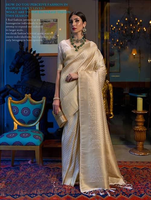 Soft Weaving silk saree online (Off White) dvz0001343