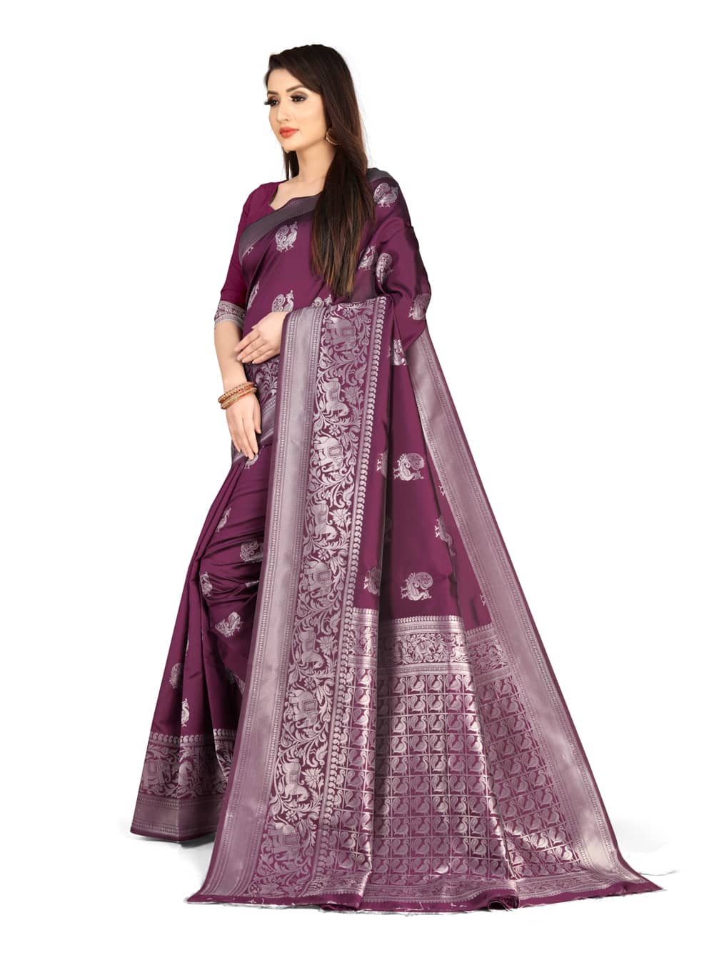 Soft banarsari Silk Saree With weaving work saree with heavy Pallu (Magenta) dvz0001406