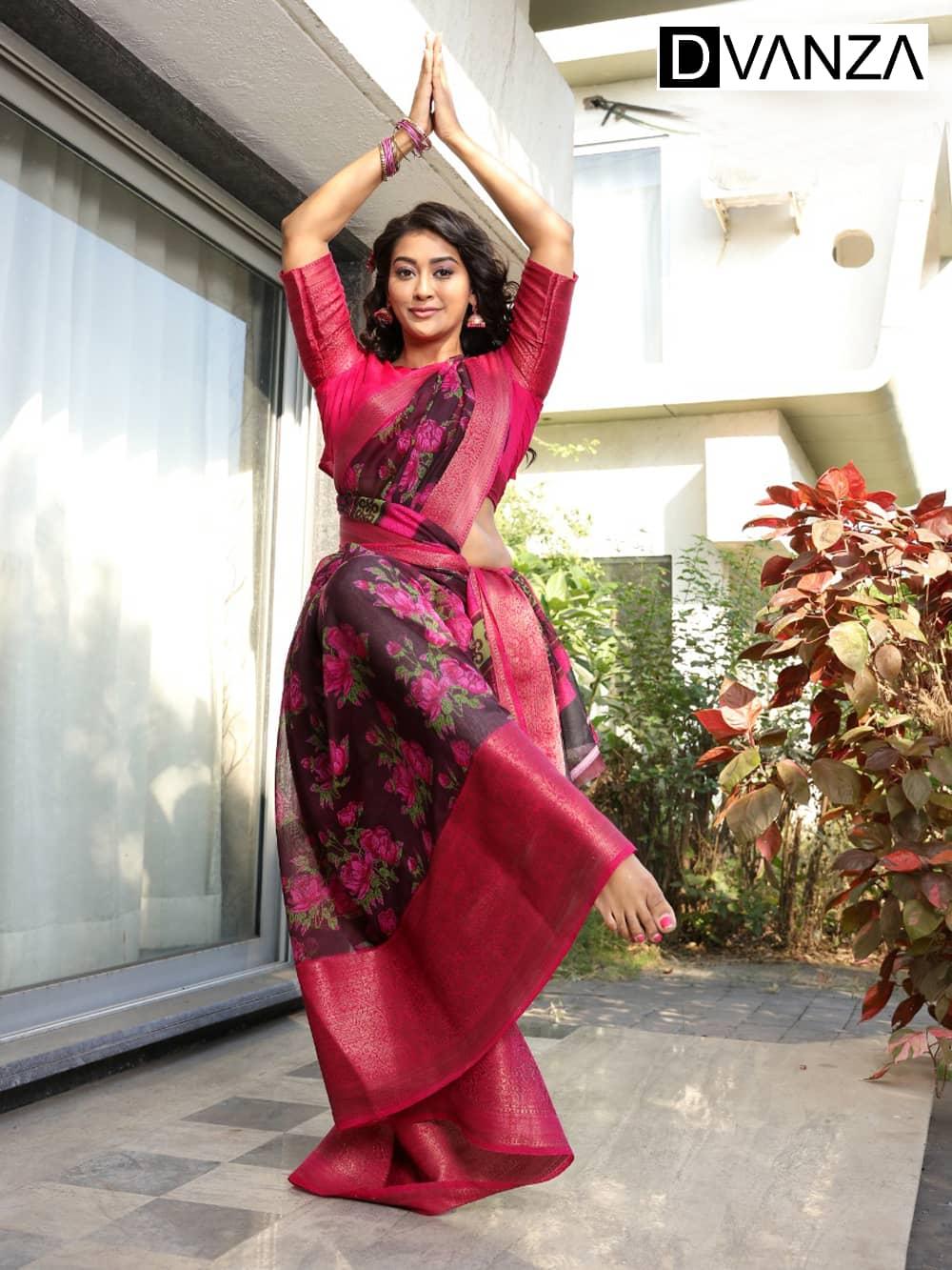 Soft cotton Printed saree with Jacquard border golden zari border dvz0001656