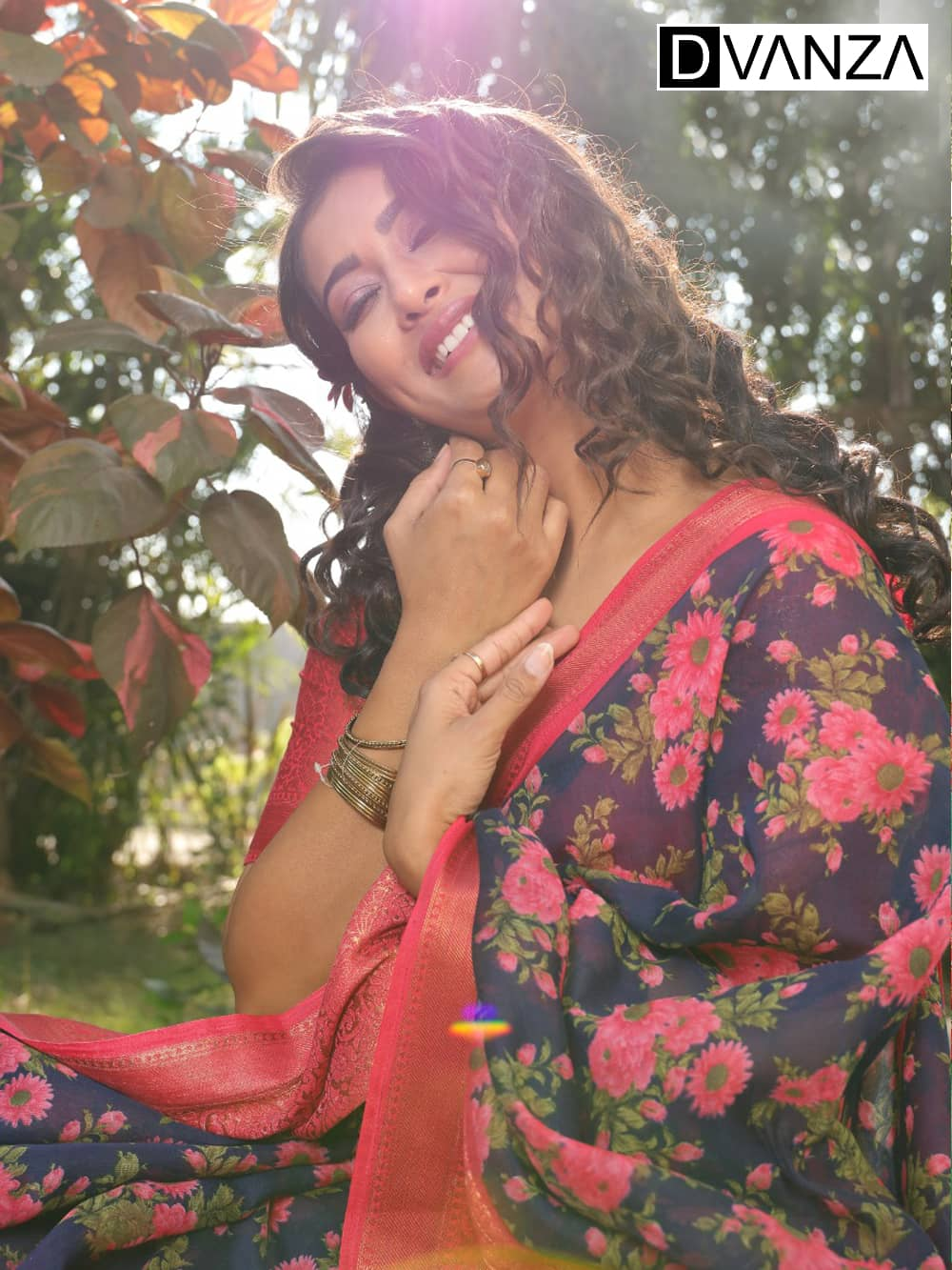 Soft cotton Printed saree with Jacquard border golden zari border dvz0001658-2