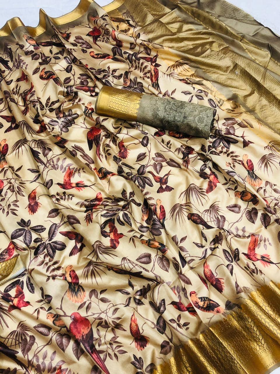 Soft cotton jacquard border with digital printed saree dvz0001533