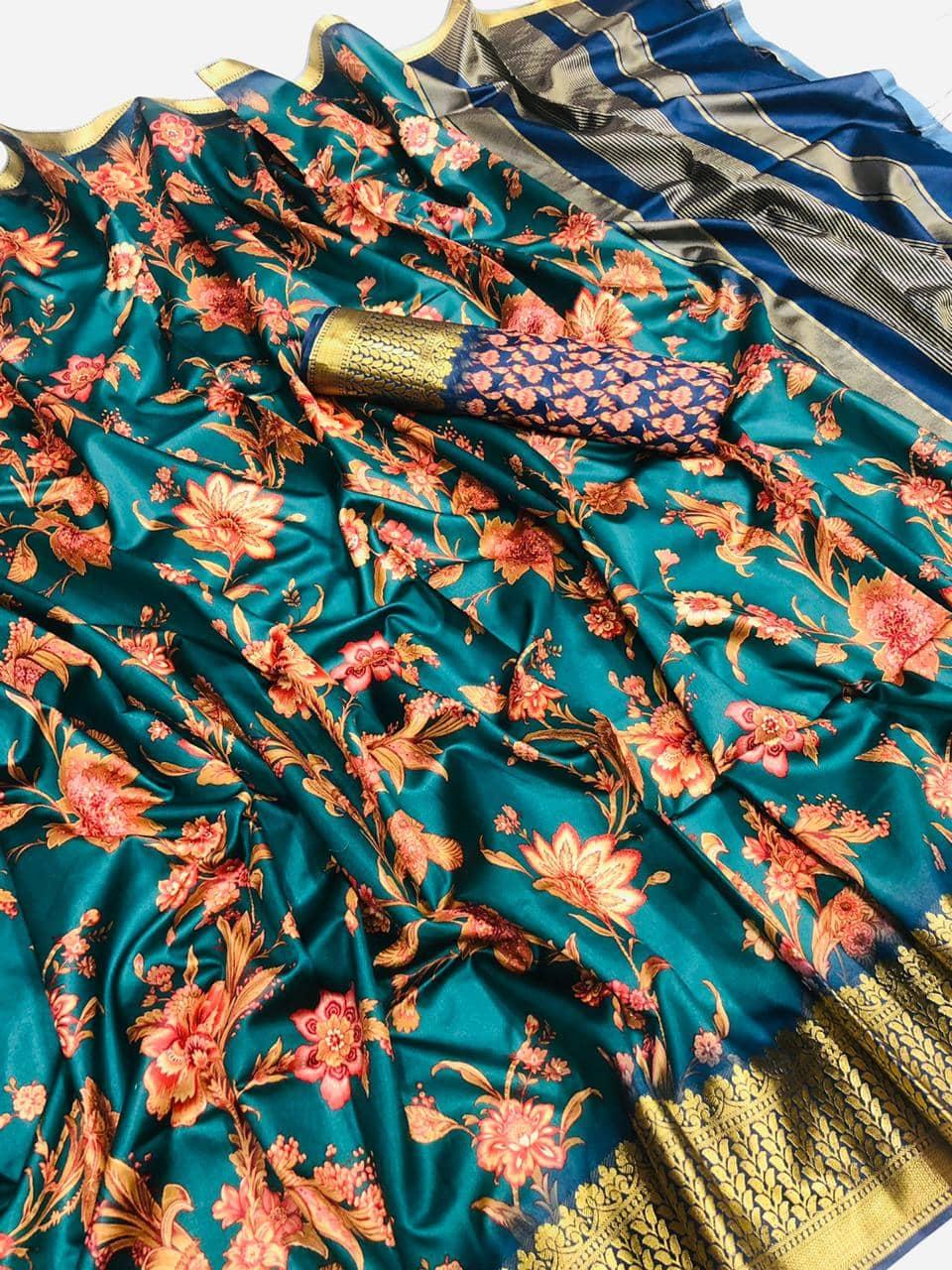 Soft cotton jacquard border with digital printed saree dvz0001536