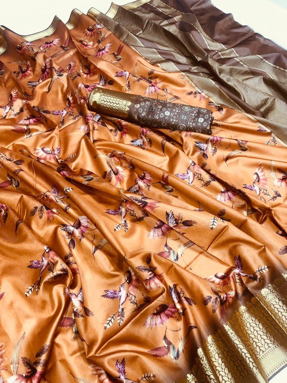 Soft cotton jacquard border with digital printed saree dvz0001538