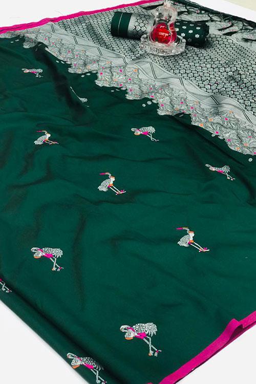 Soft silk weaving jacquard saree in Green dvz0001250